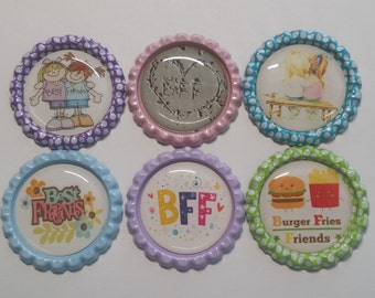 Set of 6 Best Friends BFF Finished Bottle Caps