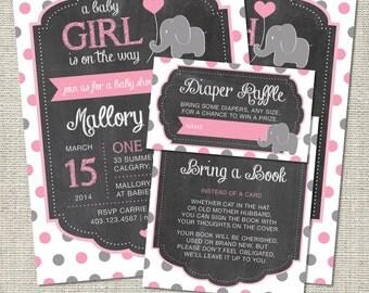 Elephant Baby Shower Invitation, Elephant Invitation, Elephant, Pink, Gray, Polka Dots, Balloon | Printable