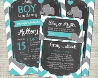 Elephant Baby Shower Invitation, Elephant Invitation, Elephant, Teal, Gray, Chevron, Balloon   Printable