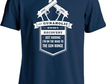 Funny Gun T Shirt Gunaholic On The Road To Recovery Shirt Gifts For Gun Lover Firearm Tshirt Joke Mens Tee MD-449