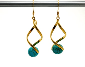 Gold Plated Twist Turquoise Earrings