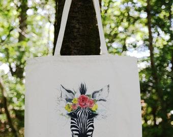 Blooming Zebra Tote Bag