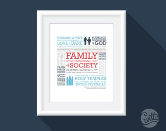 Family Proclamation to the World, LDS art, 8x10, Nautical colors, instant download printable, LDS gift