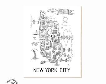 New York City Map Art Print - Black & White