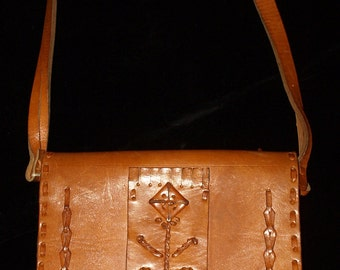 Vintage Hand Made Hungarian Folk Brown Leather Messenger Bag From the 60s