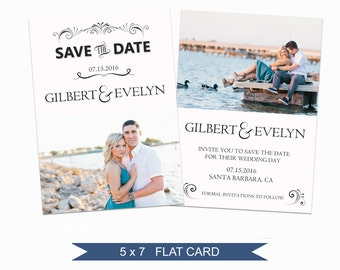 Save the Date Template - 5x7 Digital Photography Photoshop Files - Template for Photographers - EM04 - INSTANT DOWNLOAD