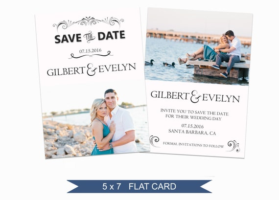 Save the date template 5x7 digital photography photoshop for Electronic save the date templates