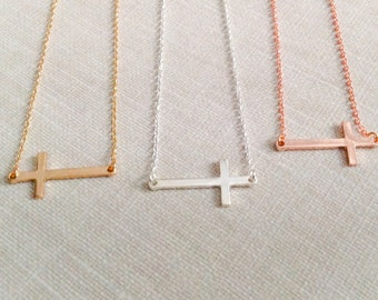 Sideways cross necklace in gold, silver or Rosegold, cross necklace, cross, gift, gold cross, silver cross, rosegold cross