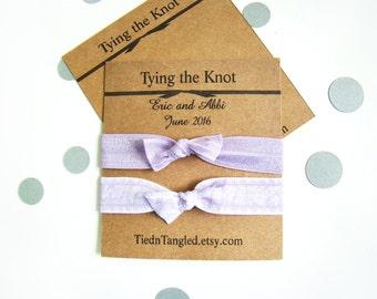 Lavender Wedding, FOE, Bridal Party Gifts, Wedding Favors, Elastic Hair Ties, Bridesmaid Gift, Creaseles Hair Ties, Bachelorette Gift
