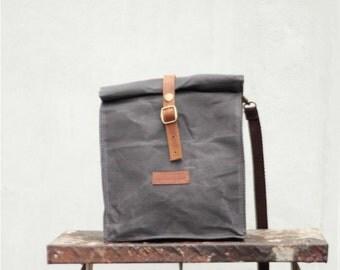 Waxed Canvas Lunch Bag (Asphalt Grey)