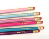 Motivational Pencil Set, Pencil, Lovable, Charming, Sweet, Delightful, Inviting, Beautiful, Pencil Set, Words to Live By, Fun Gift, Gift