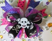 Halloween Hot Pink Bones Bowtique Bow Skull Hair Bow Hair bows Stacked Bows Skull and Crossbones 5 Inch Bow Holiday Exclusive