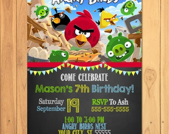 Angry Birds Invitation Chalkboard * Angry Birds Birthday * Angry Birds Printables * Angry Birds Invite * Angry Birds Party Favors