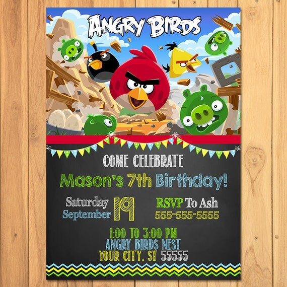 Angry Birds Invitation Chalkboard Angry Birds Birthday