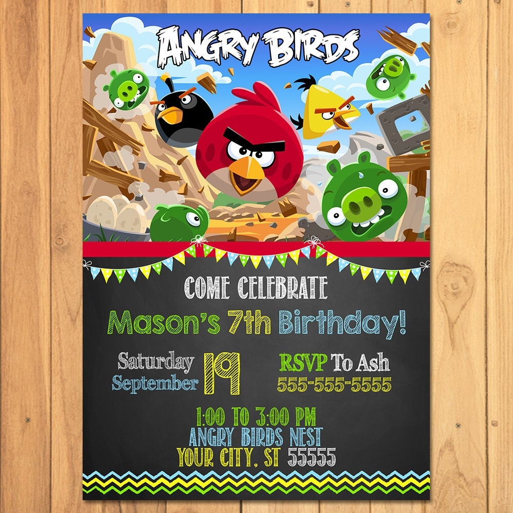 Angry Birds Invitation Chalkboard Angry Birds Birthday – Angry Birds Party Invitations