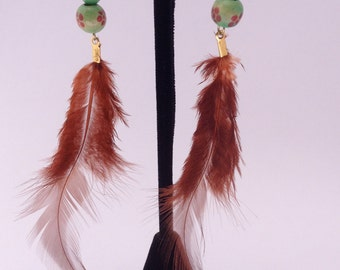 Red Feather Eearings