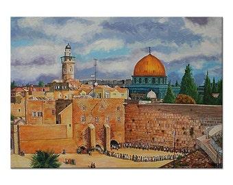 Jerusalem Painting Western Wall Kotel Holy Land Old City Israel Fine Art  70x100cm Original acrylic painting on canvas by Roman Isakov
