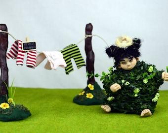 ooak art doll HEDWIG THE HEDGE ( artist doll creepy cute handmade collectible doll figurine Lina's Four O'Clock Friends Linas4oClockFriends)