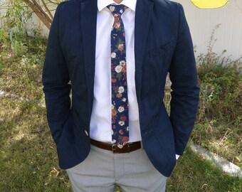 Floral Tie, Vintage Skinny Tie, Wedding Floral Tie, Blue Floral Tie, Valentine's Day