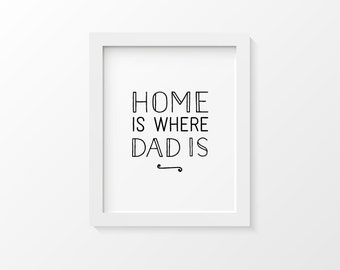 Gift for Dad | Typography Art Print | Home is Where Dad Is | Father's Day Gift | Dad Gifts | Father Gift | Gift for Father of the Bride
