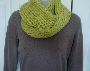 Lime Green Crocheted Infinity Scarf