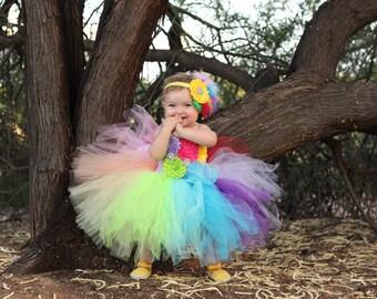 Extra Full Rainbow Tutu Dress, First Birthday Dress, 1 stBirthday Outfit, Rainbow Dress, Birthday Dress, Candy Land Tutu Clown