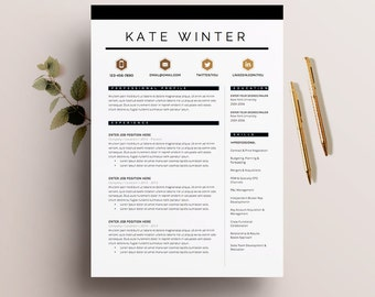resume template 4 pages cv template cover letter for ms word instant digital - Microsoft Resume Template