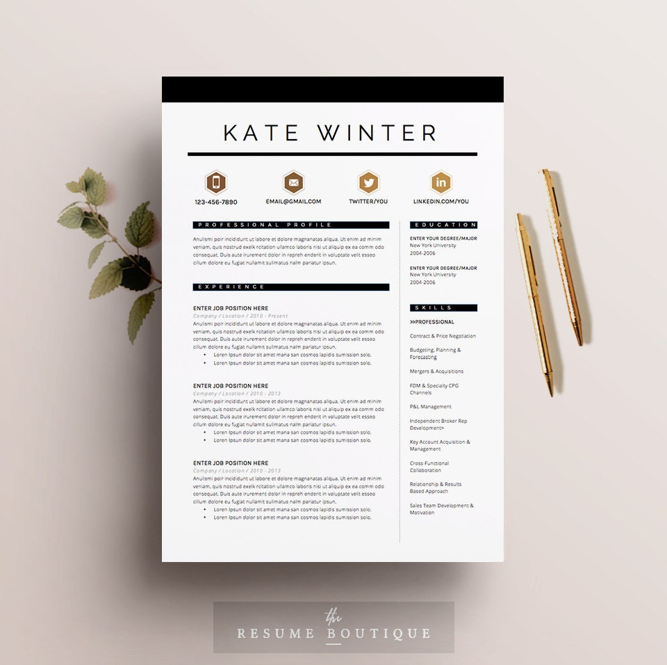 Digital Resume refine your resume before you post or submit it online Resume Template 4 Pages Cv Template Cover Letter For Ms Word Instant Digital Download The Parisian