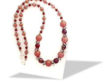 """Beaded necklace - Dark rose-pink, dark red and silver 19"""""""