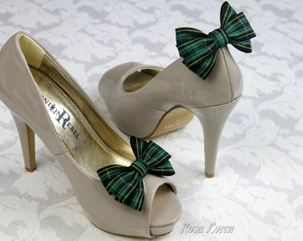 Pride of Ireland Tartan Bows, Pride of Ireland Plaid Bow Shoe Clips, Green Plaid Shoe Bows, Green Tartan Shoe Clip
