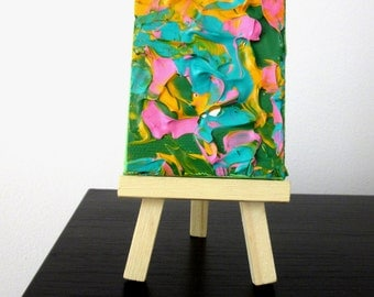Abstract ACEO Art Abstract Mini Canvas Colorful Tiny Canvas Miniature Artwork Miniature Painting Pink Green Tiny Art Pink Yellow Mini Art