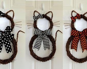Halloween Cat Wreath Wicked Witch Grapevine Cat Door Hanger Front Door Wreaths Halloween Decoration