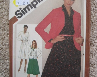 UNCUT Misses Pullover Dress and Jacket - Size 18 to 20 -  Simplicity Pattern 9778 - Vintage 1980