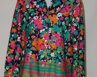 Flower Power Polyester Vintage Shirt Fun Bright Floral Pink Blue Green by Lee Mar Pagentina Knit