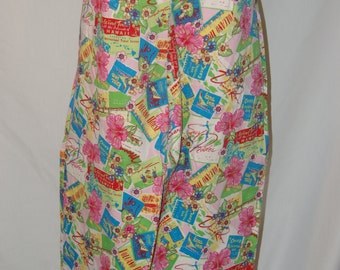 Hawaiian Surf Tiki Pants Capris Bamboo Traders Large XL Pink Hawaii