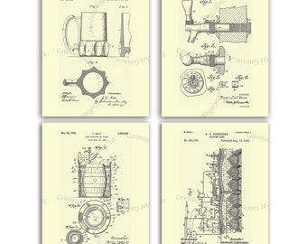 Beer Decor Posters set of 4 Cream wall art. Beer Brewery, Beer Faucet, Beer Mug, Beer Cooler Patents Invention Illustrations. Patent posters