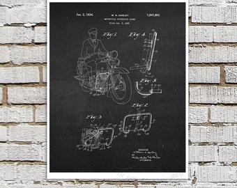 Vintage Harley Davidson Motorbike Patent Art Print #C3 with Chalkboard Image. Gift for Biker, Harley Davidson Gift idea Motorcycle decor