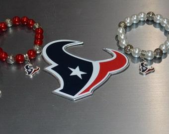 Houston Texans Beaded Charm Bracelet . Texans Football Bracelet . Houston Texans Bracelet