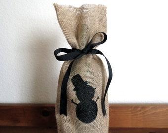 Christmas Burlap Gift Bag, Wine Gift Bag, Snowman, Wine Bag, Christmas Decor, Holiday Decorations, Christmas Gift Wrap, White Ribbon