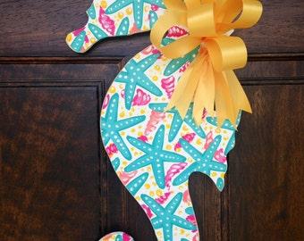Teal and Yellow Seahorse Door Hanger