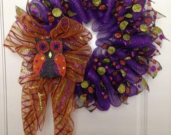 Hootie Halloween Owl Wreath