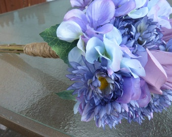 Stunning lavender/lilac colored bouquet. Rustic/ Shabby Chic