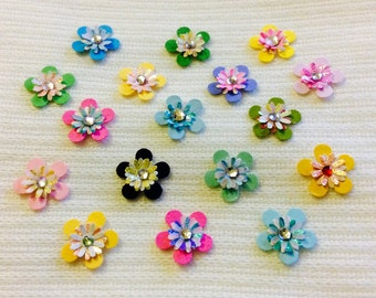 Scrapbook Embellishments - Assorted Jeweled Flowers with Adhesive - Approx 5/8""