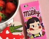 "Novelty Strawberry milk milky sweet wrapper chocolate bar pink cream peiko japanese iphone 5/5s 6/6 plus 4.7"" 5.5"" phone case"