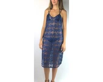 Dark Blue Floral Lace Sheer Slip Mid Length Dress