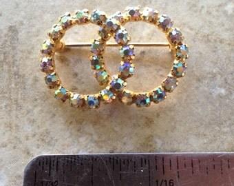 Aurora Borealis Rhinestone Vintage Brooch Valentine