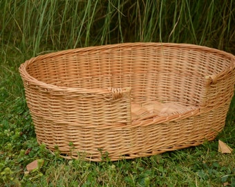 Small Dog/ Cat Basket, Small Dog Bed, Small Dog Wicker Bed, Natural Material Pet Bed, Pet Wicker Bed, Small Dog Wicker Basket, Pet Basket