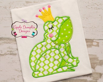 Cute Frog Princess with Crown, Tiara, Applique Machine Embroidery Design, Girl, 4x4, 5x7, 6x10, 9x9