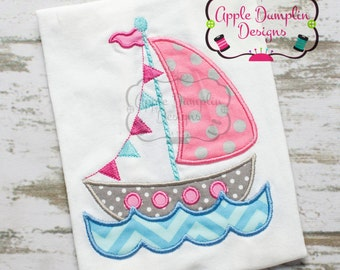 Flag Sailboat with Water Appliqué Machine Embroidery Design, Boy, Girl, Anchor, Sailing, Fishing, Beach, Summer, Spring 4x4, 5x7, 6x10
