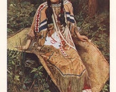 Ojibwe girl in traditional dress, original 1930 print - Native American Indian tribe - 85 years old antique lithograph illustration (A873)